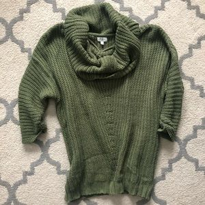 Olive green slouchy cowl neck sweater